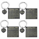 Personalized Calendar Keychain Heart Tag Dangle Wedding Anniversary Love Gift