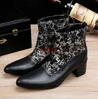 2019 Mens Ankle Boots High Top High Heel Zipper Cowboy Boots Leather Fashion T62