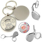 Folding Pocket 8X Magnifier Loupe Lens Compass Keychain Magnifying Keyring Gifts