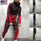 US Mens Sportwear Set Fitness Zipper Hooded Sweatshirt Jacket+Pant Gradient Suit