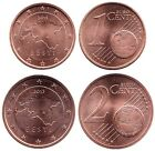 ESTONIA ESTLAND ESTONIE SET of Euro cents 2015 - 1 cent 2 cent