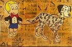 """""""RICHIE RICH'$ DOLLAR $IGN DALMATION"""" ON CANVAD BY ALEC MONOPOLY 8X12 GREAT DEAL"""