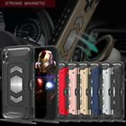 Tough Card Slot Protective Rugged Armor Built-in Magnetic Metal Plate Case Cover