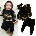 Toddler Baby Kids Boys Camo Hooded Tops Pants 2PCS Outfits Set Casual Clothes