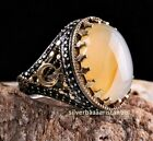 Turkish Handmade 925 Sterling Silver YEMENİ Agate Aqeeq Men ring Select Size New