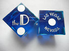 Pair of THE D DLV Casino Dice - Clear Blue, Matching #s