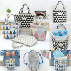 Insulated Lunch Bags Cotton Linen Trangle Printed Lunch Storage Bags Picnic Bags