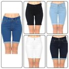 Wax Women's Juniors High Rise Push-Up Bermuda Denim Shorts True Stretch  (S-3XL)