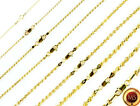 14k Gold over 925 SOLID Sterling Silver Diamond-Cut ROPE Chain Necklace
