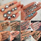 Boho Fashion Elegant Rhinestone Crystal Pearl Earrings Set Jewellery Ear Stud