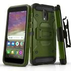 for ALCATEL TCL LX, [Tank Series] Phone Case Cover & Holster +Tempered Glass