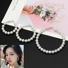 Elegant White Pearls Hoop Earrings Women Pearl Circle Fashion Dangle Jewelry New