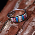 Women Multi-color Gorgeous Opal Ring Wedding Engagement Ring Jewelry Size 5-12