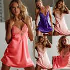 Внешний вид - New Women V-neck Satin Silk Lace Lingerie Pajama Night Dress Nightgown Sleepwear