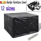 Garden Furniture Cover Black 4/6/8/10 Eyelets Outdoor Rain Protect Tool 12 Sizes