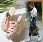 2019 Summer Womens Ladies Straw Wedge Heels Platform Slippers Leather Sandals sz