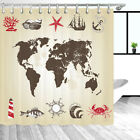 Nautical Set Shower Curtain, Shabby Chic Map of the World Fabric Shower Cutains