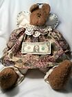 "Signed-Jackie 2003-Stuffed Sitting Angel Bear-LG-14"" Tall-YOU ARE BEARY SPECIAL"