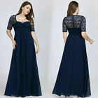 Ever Pretty US Plus Half Sleeve Lace Evening Cocktail Long Dress Mother Of Bride