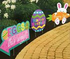 EASTER SIDEWALK SIGNS PARTY DECORATIONS EGG HUNT BUNNY EGGS CARROT YARD STAKES