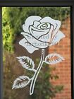 FROSTED GLASS STICKER. DECAL FOR PATIO DOOR, WINDOWS, SHOWERS 250mm ROSE FLOWER