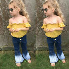 FixedPricetoddler kids baby girls off shoulder tops denim flared pants clothes outfits set