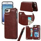 Magnetic Leather Wallet Case Card Slot Shockproof Flip Cover for iPhone7plu W4Q1