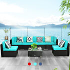 7 Pcs Patio Rattan Wicker Sofa Set Cushioned Furniture Outdoor Sectional Couch