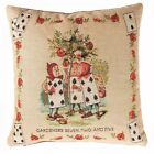 "FRENCH TAPESTRY PILLOW COVER, ""THE GARDINERS"" ALICE IN WONDERLAND, 14"" X 14"""