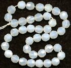 Vintage Opaline Beads 8mm Faceted Milky Glass Luster Finish 25 Pcs. W. Germany