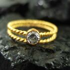 Handmade Twisted band White Topaz Ring Stack Gold over 925K Sterling Silver