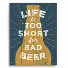 Click Wall Art Life is Too Short For Bad Beer Textual Art Plaque in Gold