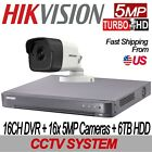 5MP Hikvision 16CH CCTV SET: 16CH DVR w 6TB HDD + 16x 5MP 2.8mm IR IP67 Cameras