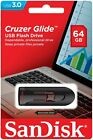SanDisk 16GB 32GB 64GB 128GB 256GB Cruzer GLIDE USB 3.0 Flash Drive Retail Lot <br/> 🔴 Faster Model, USA Seller, Lifetime Warranty 🔴