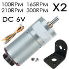 1 pair 6V DC Gear Motor 100 165 210 300 RPM high torque Reversible With Bracket