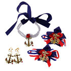 Women Anchor Necklace Earring Shoe Clips Set Navy Sailor Costume Accessories