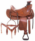 Used 15 16 17 Western Saddle Ranch Roping Cowboy Wade Tooled Leather Horse Tack