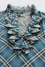 RALPH LAUREN POLO Womens BLUE & WHITE PLAID RUFFLE SOFT COTTON SHIRT  NWT M  $70