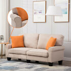Upholstered Loveseat Sofa 2Style 3Color Linen Fabric 3 Seater Couch Futon Modern
