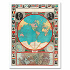 GPC 1913 World Map Colonial Power Panama Canal Framed Wall Art Poster