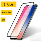 3Pack Anti-blue Light Screen Protector Tempered Glass Film For iPhone 7 8 Xs Max