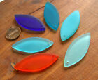PICK 4pcs 48m spindle eye sea beach frosted recycled glass pendant beads blue