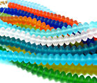 """PICK 15"""" 8mm rondelle saucer sea beach glass beads frosted recycled matte"""