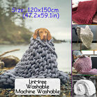Large Chunky Knitted Blanket Soft Warm Hand Woven Thick Cotton Throw Blankets US image