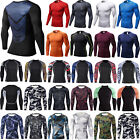 Men T Shirt Compression Long Sleeve Under Base Layer Thermal Sports Tights Tops image