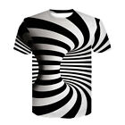 3D Stripe Whirlpool Men Women Short Sleeve Casual Harajuku T-Shirt Tee Tops 376 image