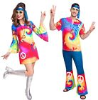 Mens & Ladies Couples Bright Hippy Hippie 70s 60s Fancy Dress Costumes Outfits