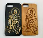 San Judas Tadeo Wood Case Hybrid Shockproof Full Cover For iPhone 7 8 Plus X Xr