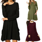 Women's O-Neck Casual Pockets Plain Flowy Simple Swing T-Shirt Loose Tunic Dress