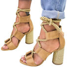 New Summer Straw Heeled Shoes Large Size Suede High Heels Shoes Strap Sandals h8